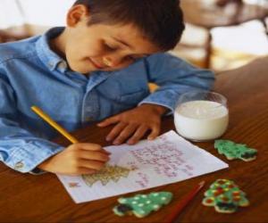 Puzle Uma criança escrever uma carta para Papai Noel