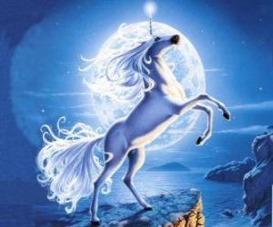 Puzle Unicorn - Jovem cavalo com um chifre em espiral