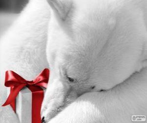 Puzle Urso polar com um presente
