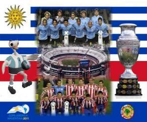 Puzle Uruguai vs Paraguai. Finais da Copa América da Argentina de 2011. 24 de julho, Estadio Monumental, em Buenos Aires