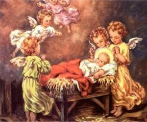 Puzle Vários anjos com o bebê Jesus