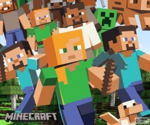 Puzle Vários personagens de Minecraft