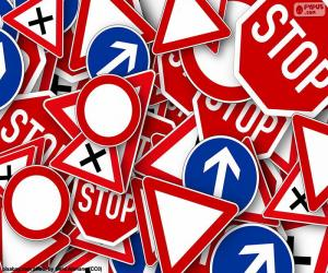 Puzle Vários sinais de trânsito