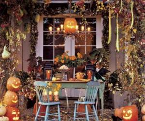 Puzle varanda decorada para o Halloween