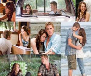 Puzle Várias fotos de Miley Cyrus e Liam Hemsworth em seu último filme, A Última Música ou A Melodia do Adeus.