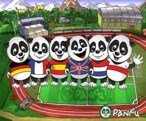 Puzle Várias T-shirts panda Panfu de algumas equipas nacionais