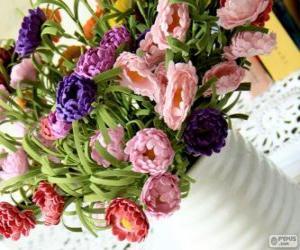 Puzle Vaso com um grande buquê de flores
