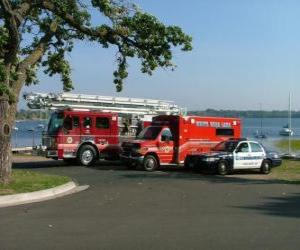 Puzle Veículos de emergência Incêndio, Ambulância e Polícia