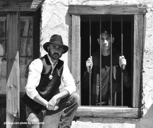 Puzle Velho xerife com um chapéu caubói e estrela no peito
