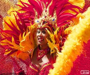 Puzle Vestido laranja Carnaval