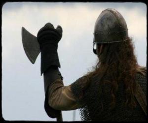 Puzle Viking assistindo armado com um machado