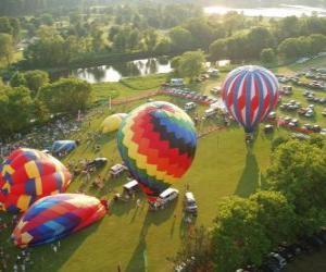 Puzle Vista aérea de um festival de balão de ar quente
