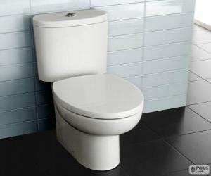 Puzle WC com caixa acoplada de descarga