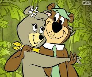 Puzle Yogi e Cindy, dois amantes ursos no parque Jellystone