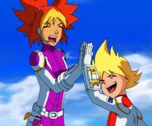 Puzle Yoko e Brett aos seus trajes espaciais, eles são dois dos membros da Team Galaxy