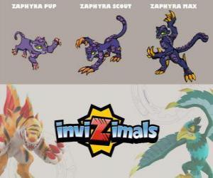 Puzle Zaphyra em três fases Zaphyra Pup, Zaphyra Scott e Zaphyra Max, Invizimals
