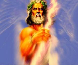 Puzle Zeus, o deus grego do céu e os trovões e rei dos deuses olímpicos
